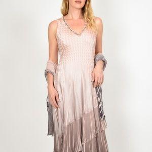 Komarov Layered Ombre Maxi Dress With Shawl